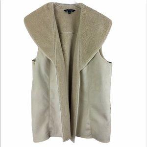 Ralph Lauren faux fur/suede vest ivory size XL